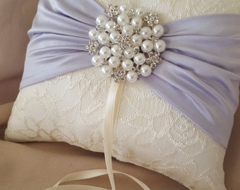 Lavender Lilac Ivory Ring Bearer Pillow Lace Ring Pillow Pearl Rhinestone Accent