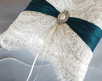 Teal Beaded Ivory Ring Bearer Pillow Bridal Lace Ring Pillow Pearl Rhinestone Accent Autumn Fall