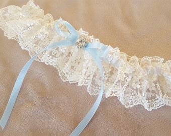 Ivory Vintage Lace Bridal Garter Blue Rhinestone Accent Wedding Garter Something