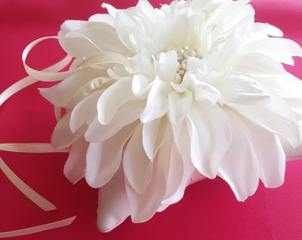 5x5 Ivory Dahlia Ring Bearer Pillow Pearl Rhinestone Accent Wedding Ring Pillow