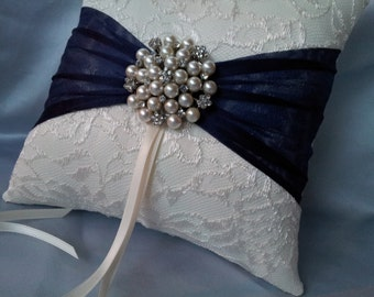 Ivory Ring Bearer Pillow Lace Navy Ring Pillow Pearl Rhinestone Accent
