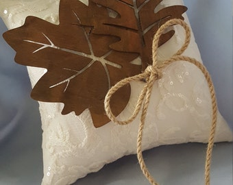 Fall Leaf Ring Bearer Pillow Beaded Bridal Lace Autumn Ring Pillow Wooden Leaves Accent