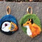 RESERVED Needle Felted Wool Painting Ornament Medallion Puffin & Fox RESERVED