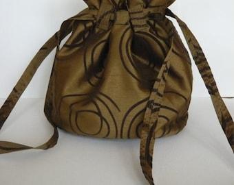 Original Handmade Brown Silk Fabric Drawstring Purse