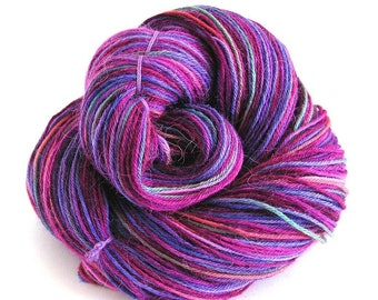 Hand Dyed Yarn Superwash Alpaca Nylon Fingering Weight Yarn 375 yards Variegated Soft Vibrant Yarn FiberFusion Fuchsia Purple Wine - Orchid