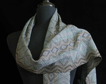 Handwoven Scarf Long Handmade Tencel Shawl by FiberFusion Light Weight Soft Wrap 9 x 75 Silver Blue Taupe Black Wearable Art Scarf - Nouveau