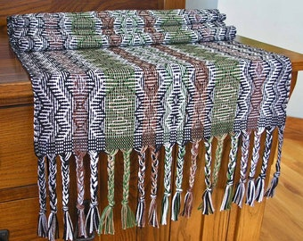 Handwoven Table Runner Home Decor Housewarming Gift Unique Geometric Cotton 16 x 58 inches long Black Brown Green White - Tribal