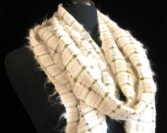 """Handwoven Scarf Soft Warm Merino Wool Mohair Tencel Fuzzy Handmade in USA Cozy Winter Shawl 10""""x 82"""" Gift for Her - Olive Bloom"""