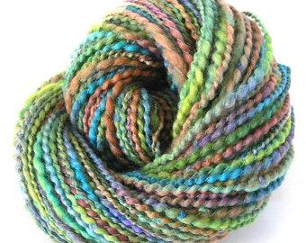 Handspun Yarn Hand Dyed Wool Art Yarn Unique Soft Chunky Weight Rambouillet Skein by FiberFusion 145 Yards Green Blue Clay Plum- Wild Grass