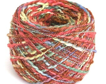 Hand Dyed Yarn Cotton Poly Slub Thick and Thin Nubby Lace Fingering Weight Yarn 470 Yards Unique Fall Colors FiberFusion - Cinnamon Twist