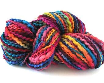 Handspun Yarn Hand Dyed BFL Wool Silk Chunky Weight Art Yarn 100 yards Rich Colorful Variegated Unique Art Yarn by FiberFusion- Dark Rainbow