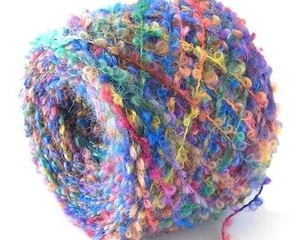 Hand Dyed Alpaca Merino Wool Boucle Yarn 320 Yards Variegated Colorful Rainbow Soft Loop Fingering Weight Yarn FiberFusion - Vibrant Bouquet
