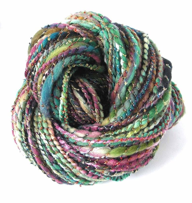 Handspun Bulky Yarn Hand Dyed Rambouillet Wool Silk Rayon Art Yarn FiberFusion 215 Yards Unique Colorful Yarn Pine Plum Winter Rhapsody