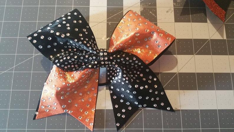 Custom Cheer Bow You Pick Colors Mystique Rhinestone Glitter