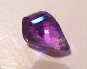 Purple Amethyst Briolette Faceted Helix spiral cut Twist tear drop natural untreated Medium purple about 16 x 10 mm  Only One