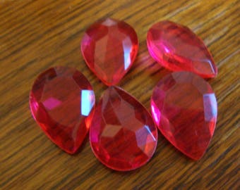 Vintage Ruby Red-Pink Teardrop Pear faceted 25x18mm  genuine Lucite - choose size of lots. 3, 5, 10, or 25 pieces