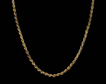 Yellow Diamond-Cut French Rope chain necklace - free shipping