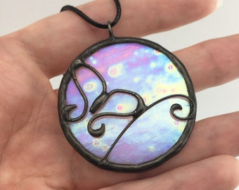 Butterfly Fantasy - Stained Glass Pendant with Black Necklace Cord or Chain