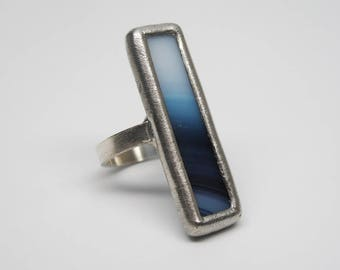 Ombre Blues - Sterling Silver Stained Glass Ring - Size 7.5