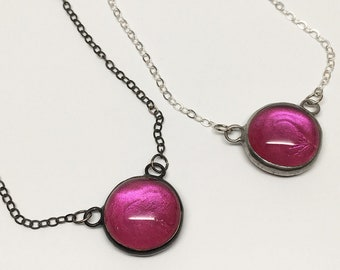 Pink Droplet - Small Stained Glass Nugget Necklace with Sterling Silver Chain (Silver or Black)