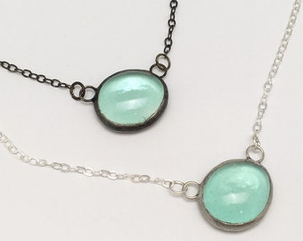 Dew Droplet - Small Stained Glass Nugget Necklace with Sterling Silver Chain (Silver or Black)