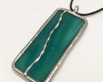 Tropical Rain Forest - Stained Glass Pendant with Black Necklace Cord or Chain