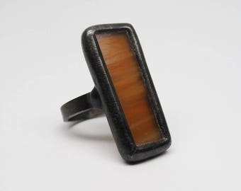 Butter Rum - Sterling Silver Stained Glass Ring - Size 7.5