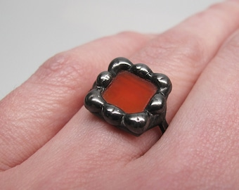 Orange Blossom - Sterling Silver Stained Glass Ring - Size 6