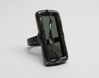 Rising Smoke - Sterling Silver Stained Glass Ring - Size 7.5