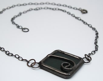 Grey Wind - Stained Glass Statement Necklace with Sterling Silver Chain