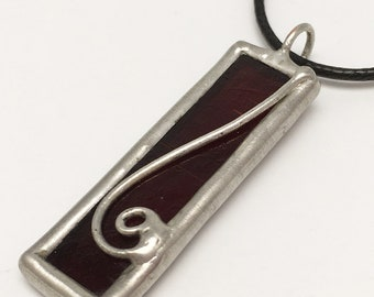 Crimson Tear - Stained Glass Pendant with Black Necklace Cord or Chain