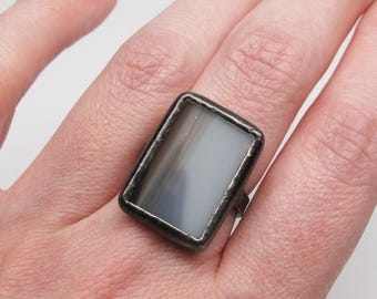 Shadowplay - Sterling Silver Stained Glass Ring - Size 8.5