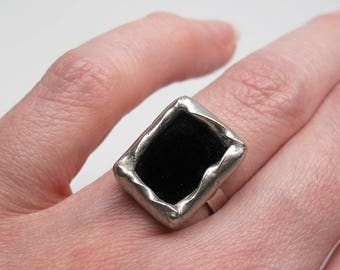 Dark Cavern - Sterling Silver Stained Glass Ring - Size 6.5