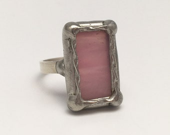 Pink Princess - Size 8.5 Sterling Silver Stained Glass Ring