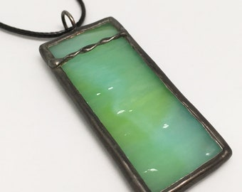 Kiwi Lime - Stained Glass Pendant with Black Necklace Cord or Chain