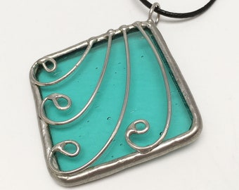 Niagara Falls - Stained Glass Pendant with Black Necklace Cord or Chain