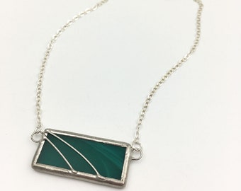 New Wave - Stained Glass Necklace with Sterling Silver Chain