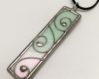 Vanilla Mint - Stained Glass Pendant with Black Necklace Cord or Chain