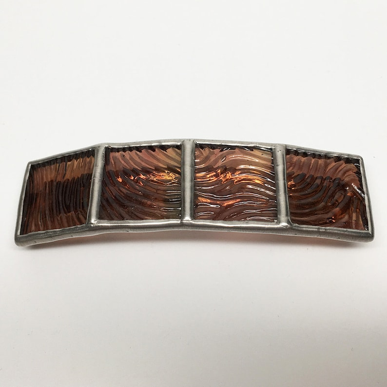 Chestnut  Medium Stained Glass French Barrette image 0