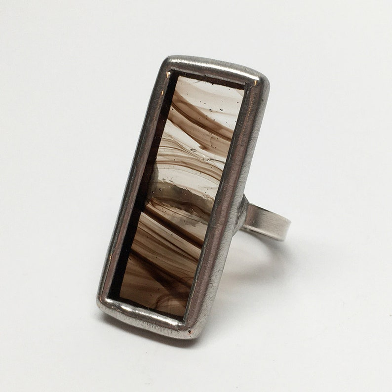 Maple Syrup   Size 9 Sterling Silver Stained Glass Ring image 0