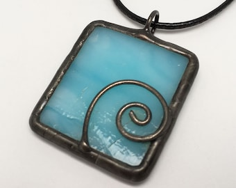 Blue Nautilus - Stained Glass Pendant with Black Necklace Cord or Chain