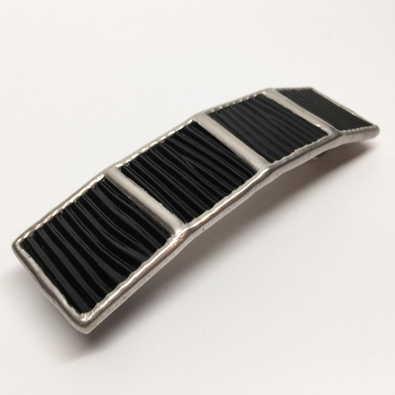 Licorice Ripple  Large Stained Glass French Barrette image 0