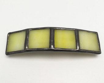 Lemon Bar - Medium Stained Glass French Barrette