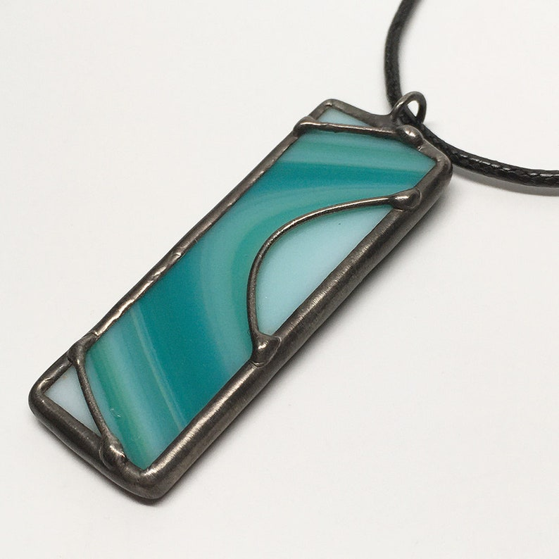 Totally Teal  Stained Glass Pendant with Black Necklace Cord image 0