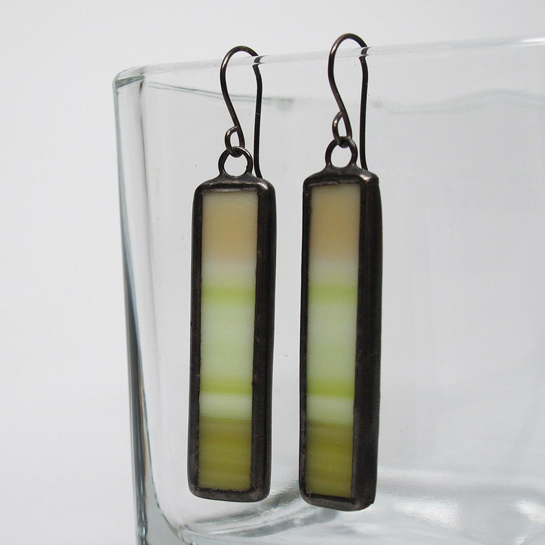 Banana Split  Sterling Silver Stained Glass Earrings image 0