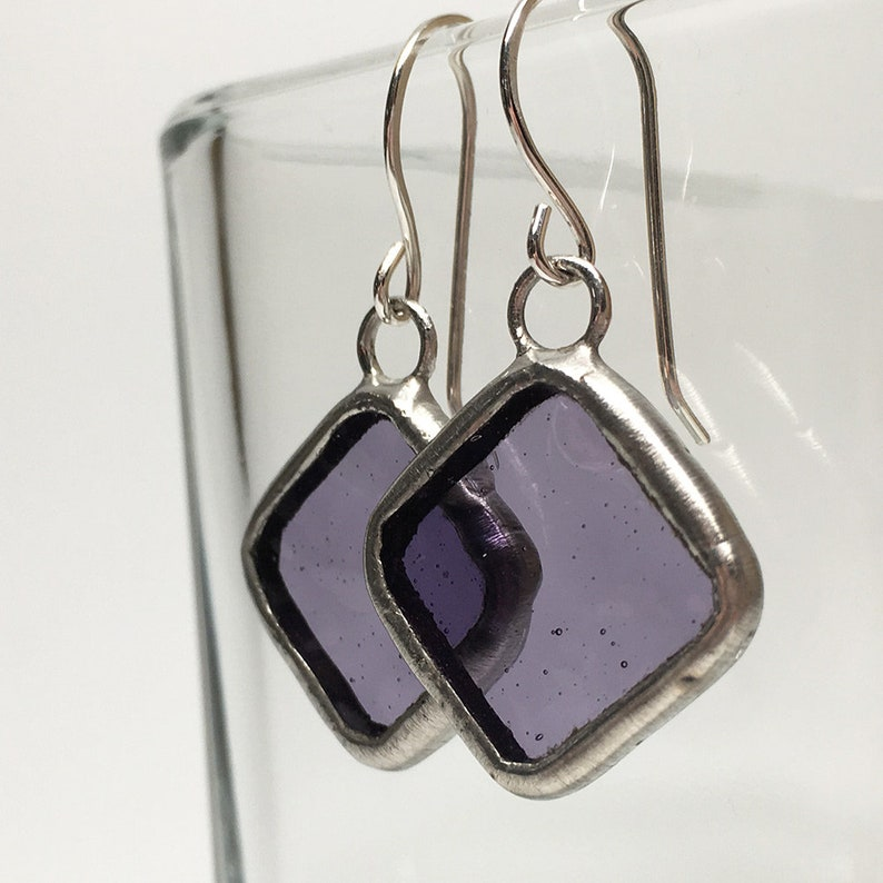 Wisteria  Sterling Silver Stained Glass Earrings image 0