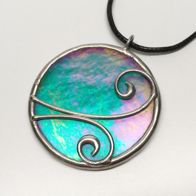 Sweet Fantasy  Stained Glass Pendant with Black Necklace Cord image 0