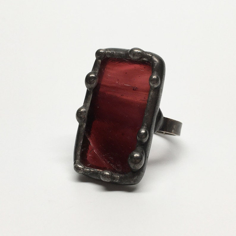 Wildberry   Size 8 Sterling Silver Stained Glass Ring image 0