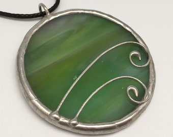 Green Meadow - Stained Glass Pendant with Black Necklace Cord or Chain