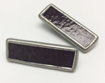 Black Plum - Small Stained Glass Alligator Clip Barrette Set